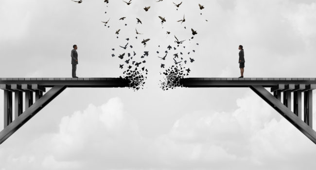 Divorce and separation as a couple on a broken fading bridge flying away as a divided relationship concept with 3D illustration elements.